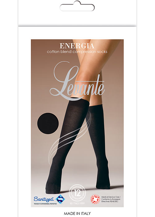 Levante Energia Cotton Blend Compression Knee Highs