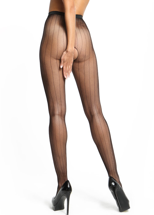 Miss O Fishnet Open Crotch Tights With Stripes