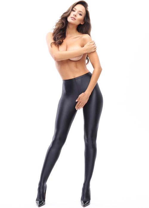 Miss O Gloss Opaque Open Crotch Tights