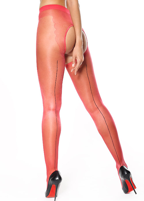 Miss O Sheer Open Tights With Decorative Brief And Backseam