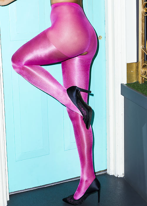 Miss Naughty Metallic Shine Crotchless Tights