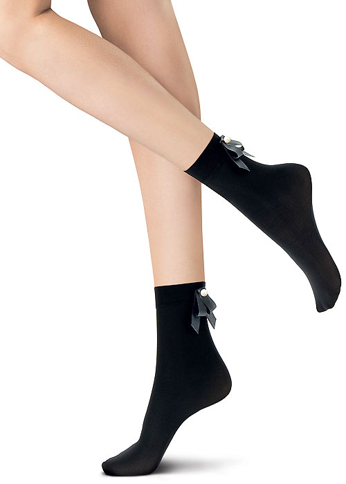 Oroblu Abstract Embellished Pearl Bow Socks