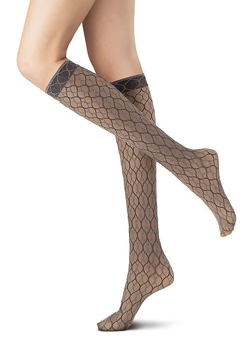 Oroblu Graphic Weaving Net Knee Highs