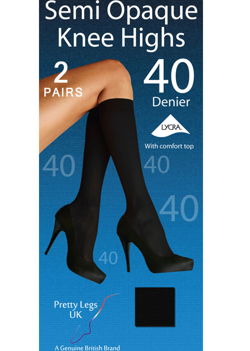 Pretty Legs 40 Denier Opaque Knee Highs 2 Pair Pack