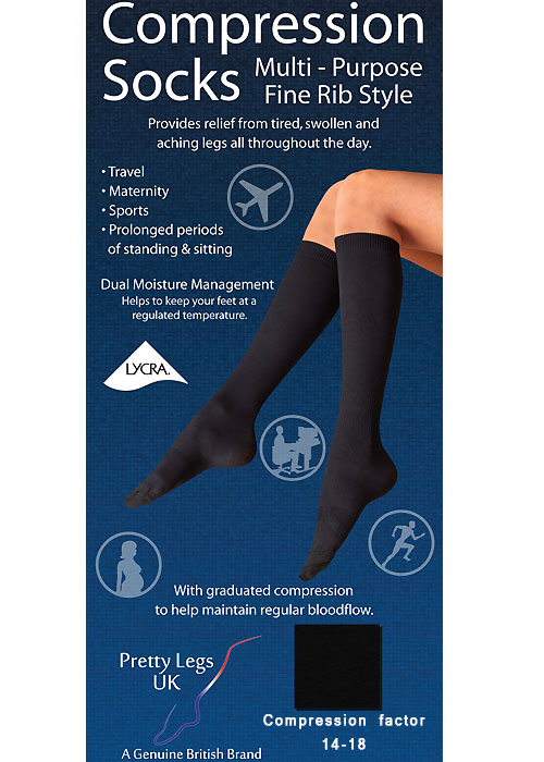 Pretty Legs Lifestyle Fine Ribbed Compression Socks