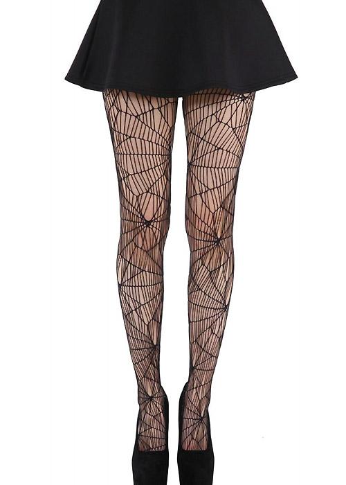 Vintage Retro Halloween Themed Clothing Pamela Mann Cobweb Pattern Net Tights £9.99 AT vintagedancer.com