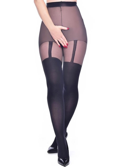 Pamela Mann Plain Stripe Suspender Crotchless Tights