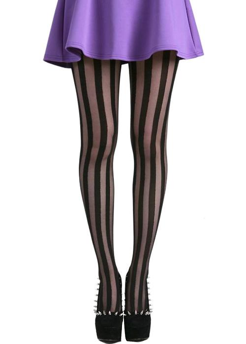 Pamela Mann Solid Sheer Vertical Stripe Tights
