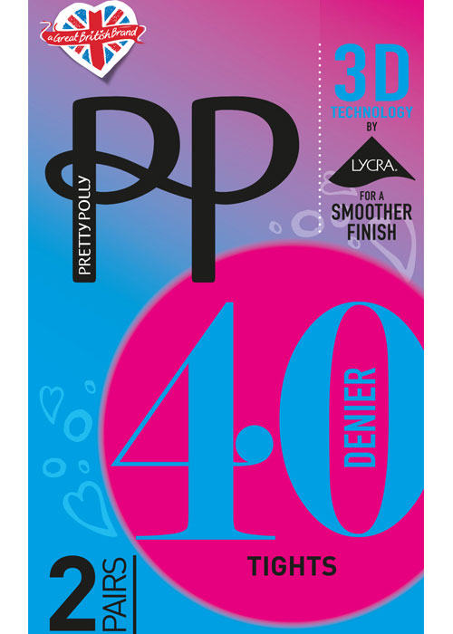 Pretty Polly 40 Denier 3D Opaque Tights 2 Pair Pack