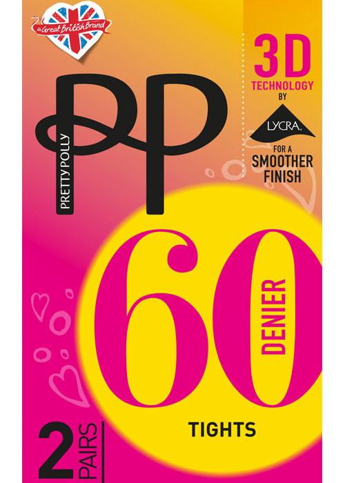 Pretty Polly 60 Denier 3D Opaque Tights 2 Pair Pack