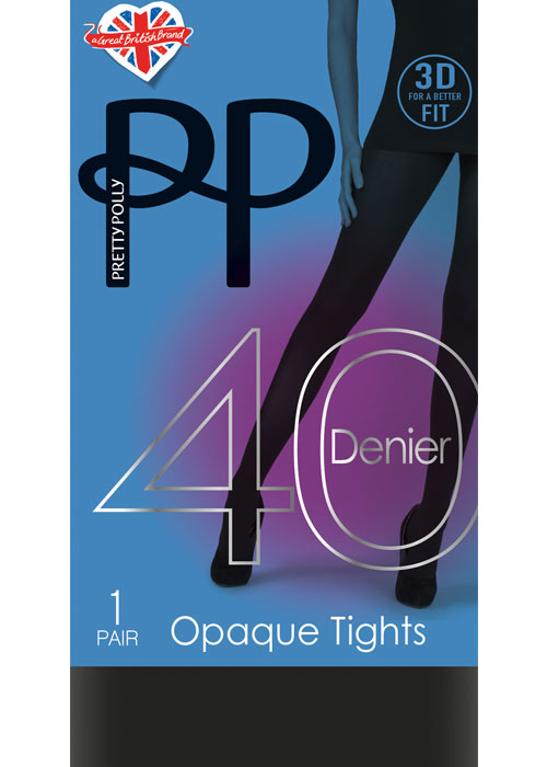 5a486265564 Pretty Polly 40 Denier New 3D Opaque Tights In Stock At UK Tights