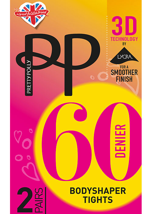 Pretty Polly 3D 60 Denier Bodyshaper Tights 2 Pair Pack