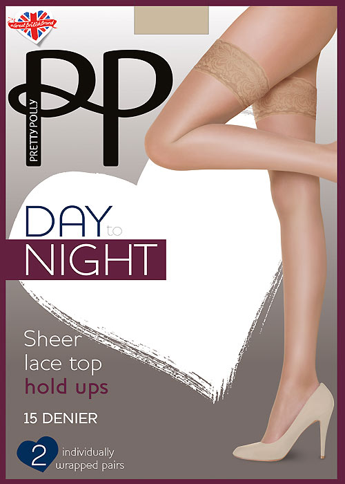 Pretty Polly Day To Night Lace Top Hold Ups 2PP