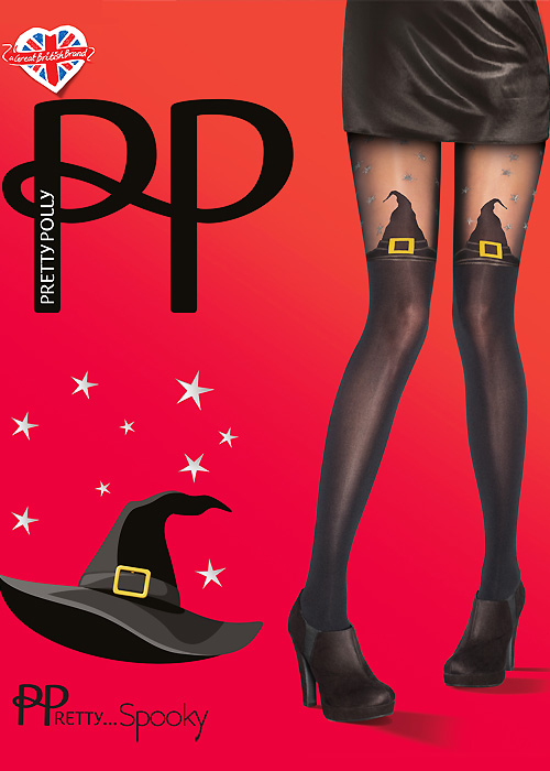 Vintage Retro Halloween Themed Clothing Pretty Polly Pretty Spooky Witches Hat Tights £7.99 AT vintagedancer.com