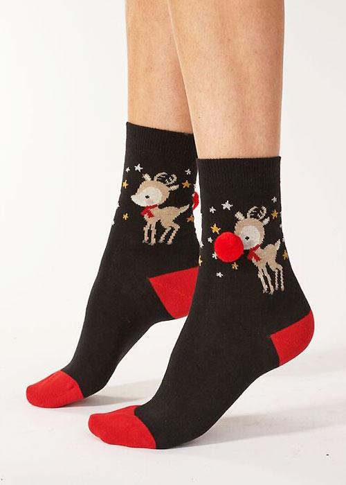 Pretty Polly Reindeer Pom Pom Socks