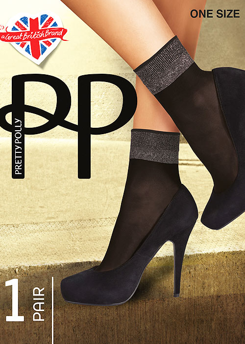 Pretty Polly Sheer Lurex Welt Anklet