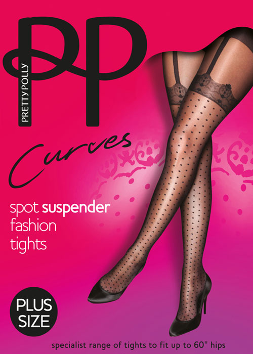 Pretty Polly Curves Mock Spot And Lace Suspender Tights