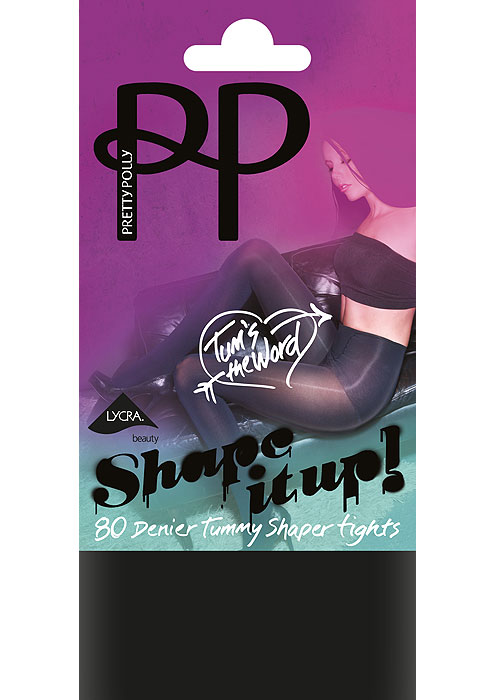 Pretty Polly Shape It Up 80 Denier Tum Opaque Shaper Tights
