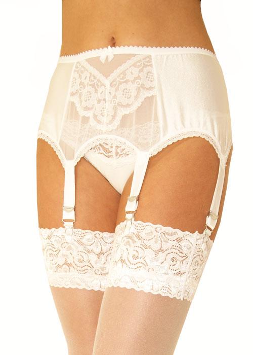 Sassy 6 Strap Mesh Front Suspender Belt
