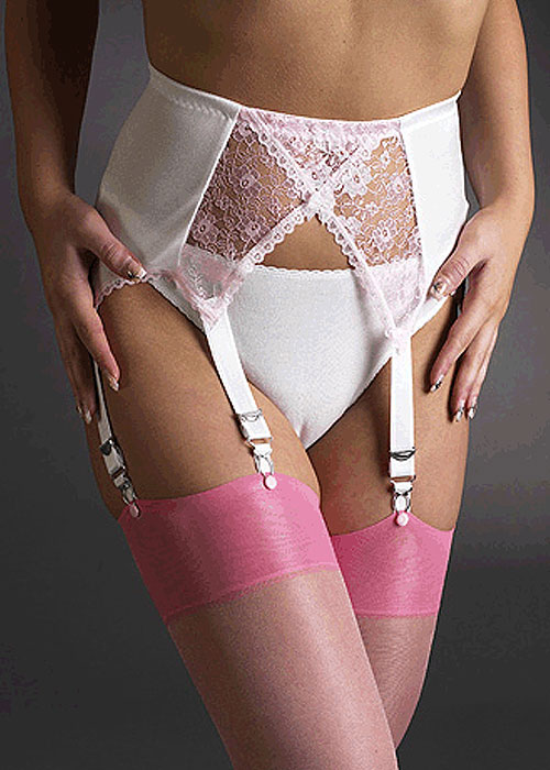 Sassy 6 Strap Pink and White Cross Over Suspender Belt