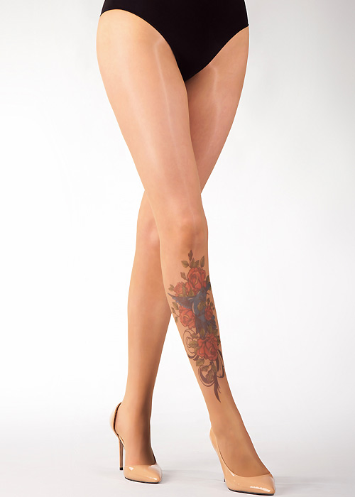 1920s Stockings, Tights, Nylons History Stop  Stare Bird And Roses Tights £16.99 AT vintagedancer.com
