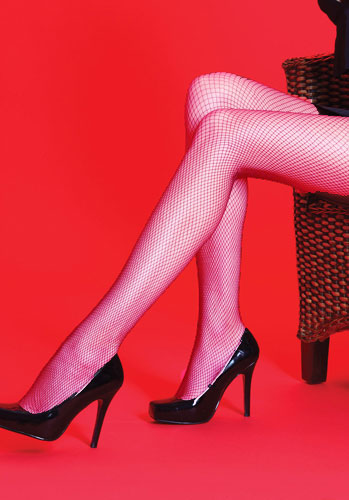 Silky Scarlet Coloured Fishnet Tights