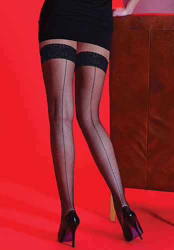 Silky Scarlet Fishnet Backseam Lace Top Hold Ups