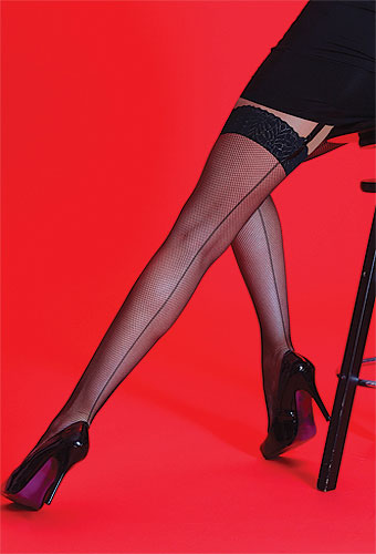 Silky Scarlet Fishnet Backseam Lace Top Stockings