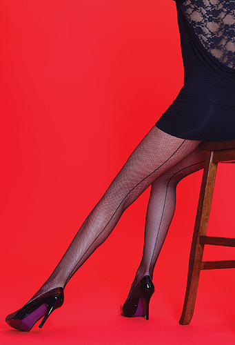 Silky Scarlet Fishnet Backseam Tights
