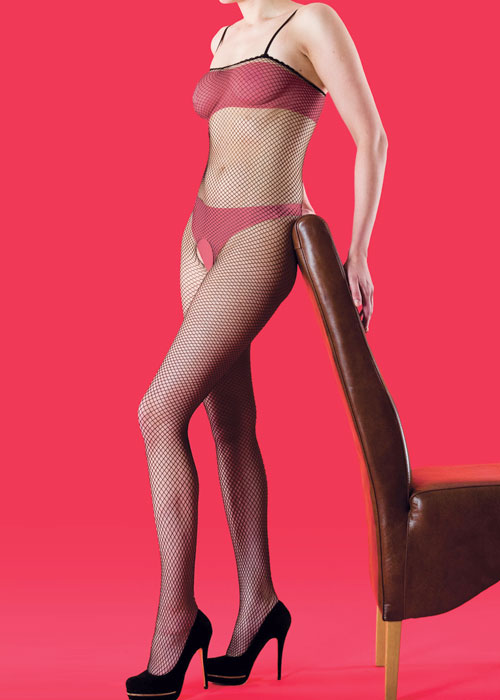 Silky Scarlet Fishnet Bodystocking