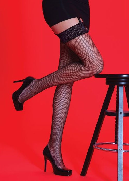 Silky Scarlet Lace Top Fishnet Stockings