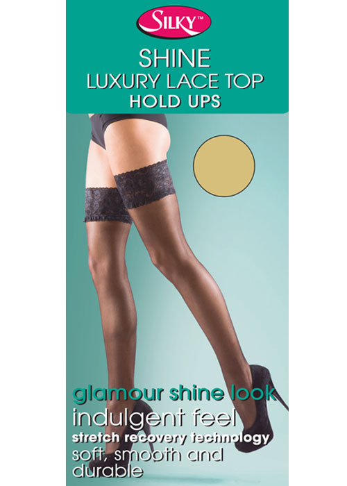 Silky Super Shine Lace Top Hold Ups