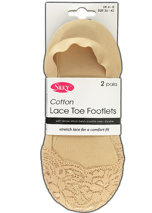 Silky Cotton Lace Toe Footlets (2PP)