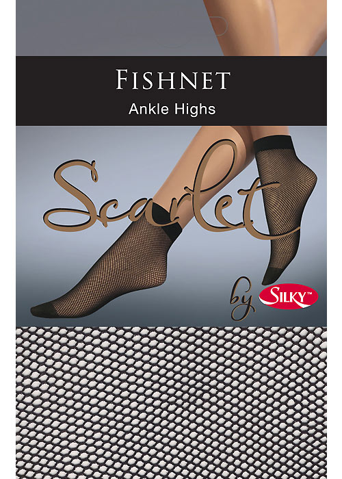 Silky Scarlet Fishnet Ankle Highs