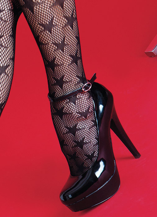 Silky Scarlet Star Fishnet Tights