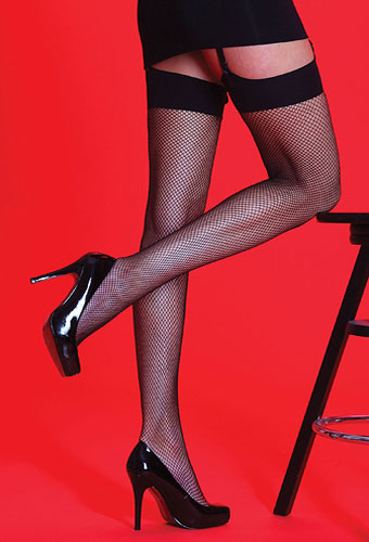 Silky Scarlet Plain Top Fishnet Stockings