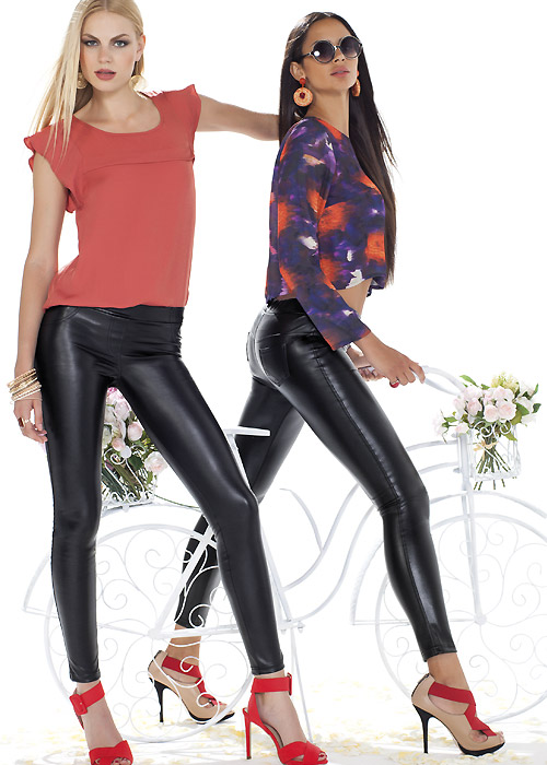 Trasparenze Black Russian Faux Leather leggings