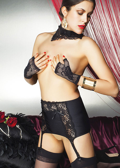 Trasparenze Moire Suspender Belt