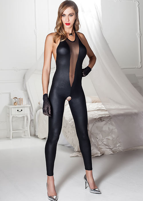 Trasparenze Natalya Leather Look Catsuit