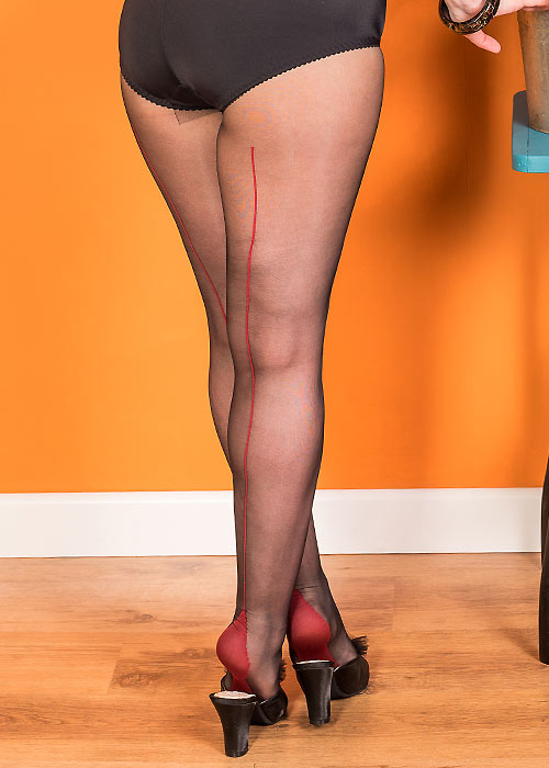 What Katie Did Retro Contrast Seamed Tights Black Red Zoom 2