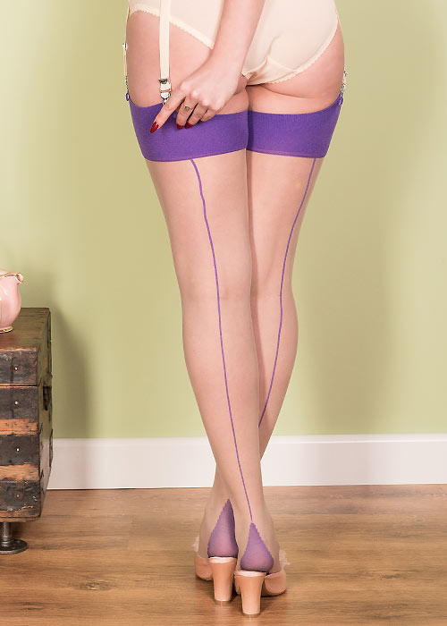 What Katie Did Glamour Contrast Seamed Stockings Champagne Purple Zoom 2