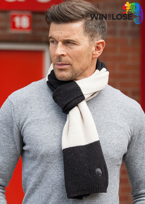 Win or Lose Merino Wool Scarf Black White Bar