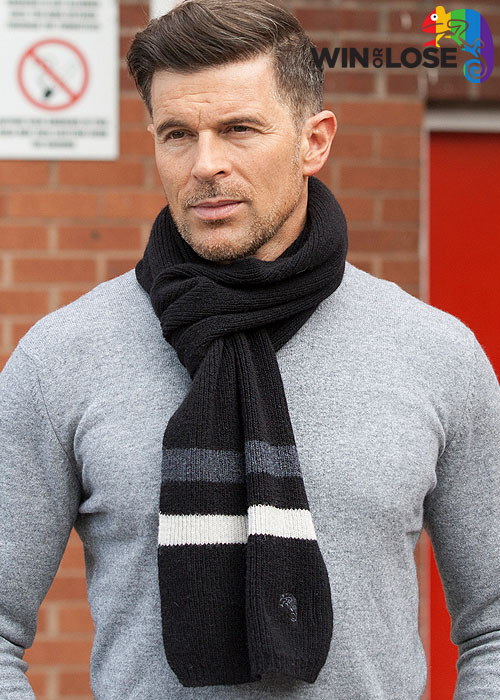 Win or Lose Merino Wool Scarf Black Grey White