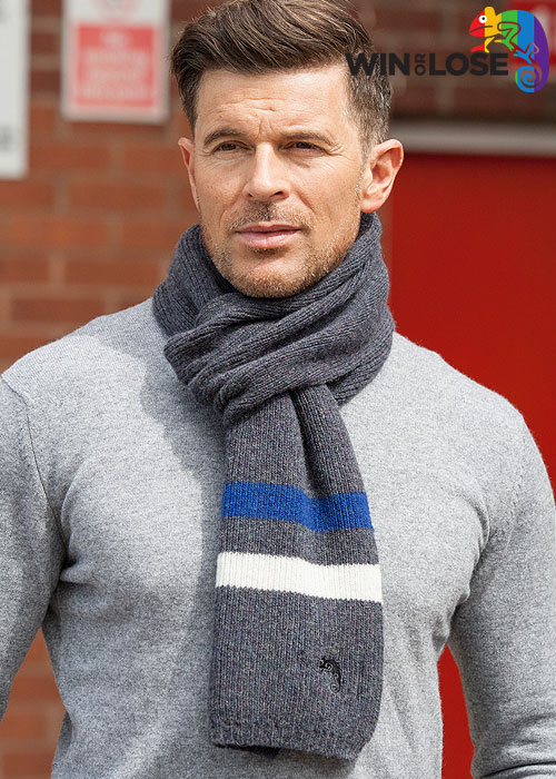 Win or Lose Merino Wool Scarf Grey Navy White