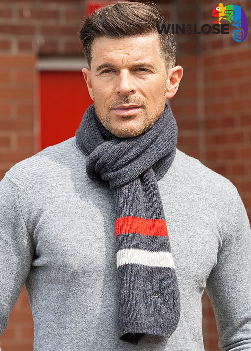 Win or Lose Merino Wool Scarf Grey Red White
