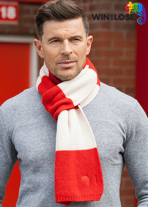 Win or Lose Merino Wool Scarf Red White Bar