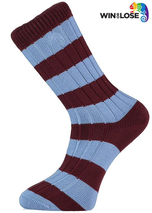 Win or Lose Claret and Blue Stripe Cotton Socks