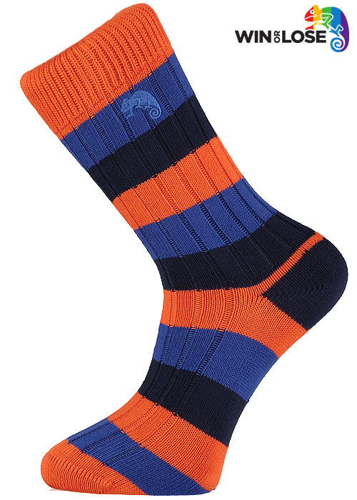 Win or Lose Navy Orange and Blue Stripe Cotton Socks