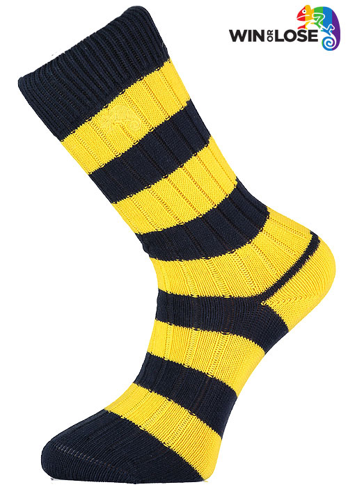 Win or Lose Navy and Gold Stripe Cotton Socks
