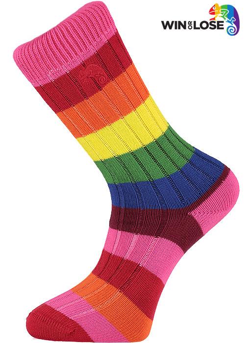 Win or Lose Rainbow Multi Stripe Cotton Socks